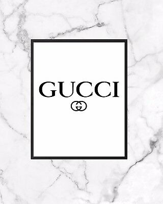 Fashion  Poster A4  Wall Art Print Home Decor  Gift Gucci Inspired Logo