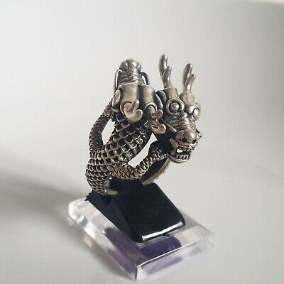 Double Head Dragon Ring Solid Sterling Silver 925 Size 12.5 US
