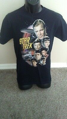 STAR TREK 'Classic Cast' BLACK T-SHIRT - SIZE SMALL - Great Condition