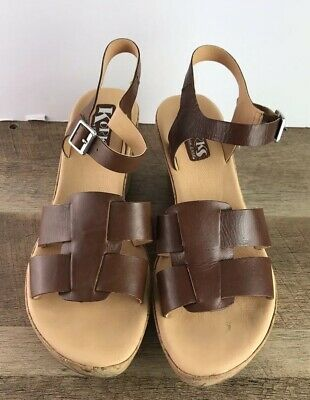 7b28b1ee441a KORKS BY KORK Ease Strap Wedge Leather Sandals BRIE Women s Size 10 ...