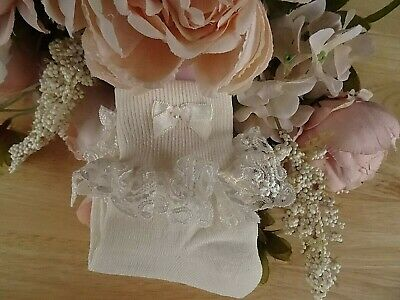 Girl Ladies Cream Lace Frilly Special Occasion Party Socks UK 12.5-3.5/Eur 31-36