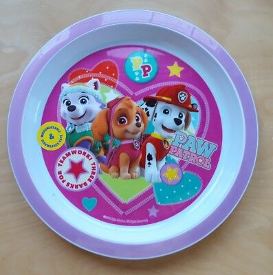Paw Patrol Pink Plastic Plate New 21cm Skye Marshall and Everest