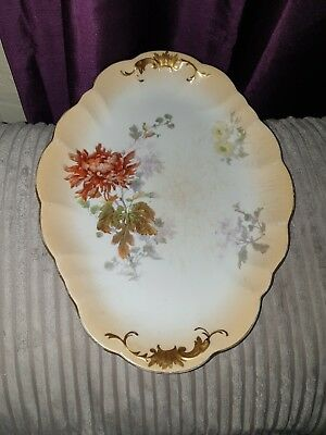 Antique Doulton Burslem Floral large plate Hand Painted beautiful interesting