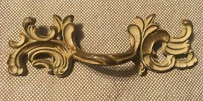 "Antique Vintage Brass French Provincial Drawer Handle 4.75"" Long, 2.5"" Center"