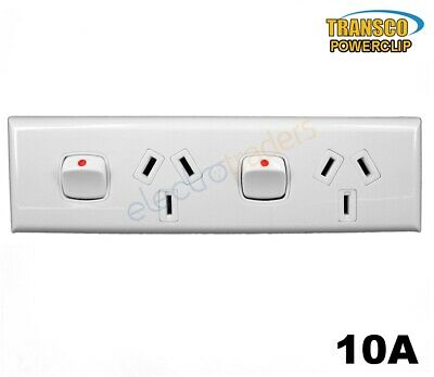 Powerclip Skirting Double Power Point 10 Amp 240 Volt