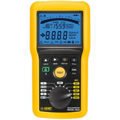 AEMC 6526 (2155.53) Digital/Analog Megohmmeter w/ Bluetooth, 1000V Max