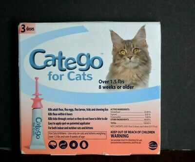 CATEGO Flea Treatment for Cats Over 1.5 Lbs 8 WKS 3 Ct - Ships