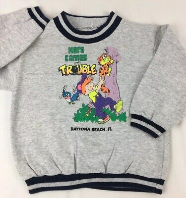Vtg 80' 90's Kids Daytona Beach FL Long Sleeve Sweatshirt Dennis The Menace