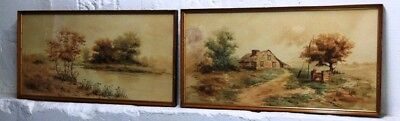 "Pair of Late 19th early 20th c. Watercolor Landscape Paintings signed ""H. Amie"""