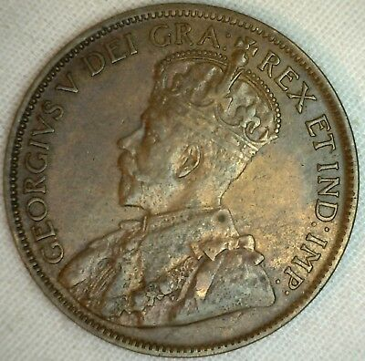 1916 Copper Canadian Large Cent Almost Uncirculated Coin 1-Cent Canada AU K1