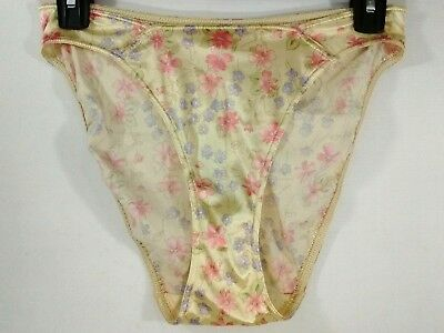 Vintage Victoria's Secret Panties Second Skin Satin Hi-Cut Yellow Floral Size M