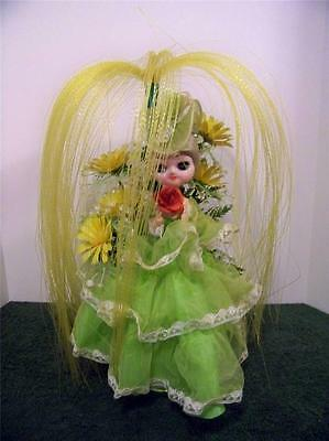 Dresser Table Doll Lime Green and Yellow RETRO 1960s or 1970s