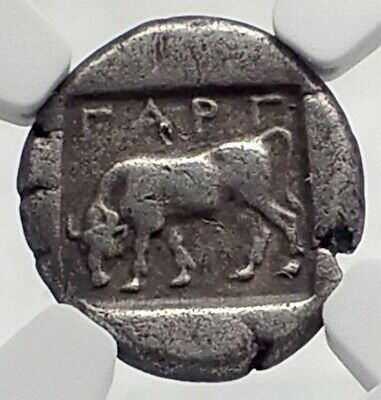 GARGARA in TROAS Very Rare Ancient Silver Greek Coin EX GARRETT COLL NGC i77253