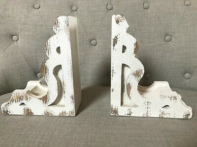 Magnolia Market Distressed White Corbels Brackets Book Ends