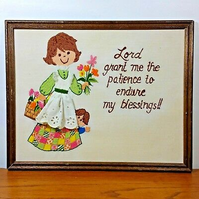 Vintage Crewel Lord Grant Me Patience Embroidery Finished Framed 12 x 15""
