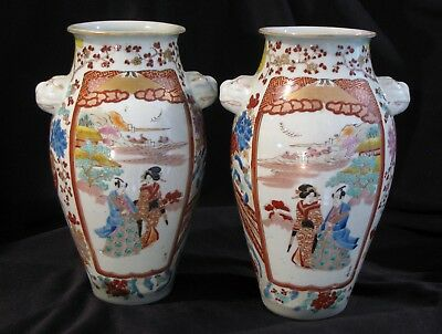 Pair Of Classic Japanese Arita Porcelain Vases In Early Fukagawa Hichozan Style