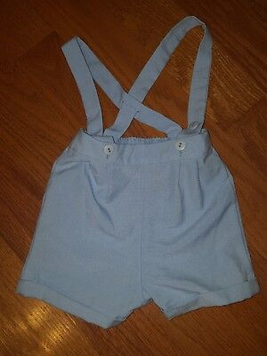 Good Lad Of Philadelphia Vintage Boys Shorts With Suspenders 12 Months Baby Blue