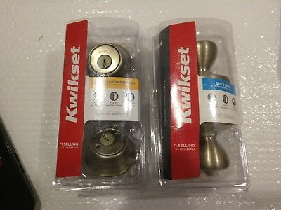 Kwikset Double Cylinder Deadbolt, Antique Brass-96650-493- & Privacy Door Knob