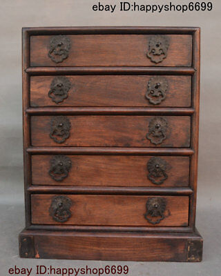 Old China Yellow Huali Wood Hand-Carved Drawer Pagoda Storage Jewelry Box Statue