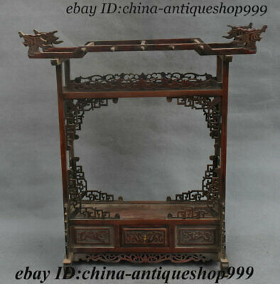 Collect Chinese Hua Li Wood Carved Dragon Head Drawer Locker Flower rack Statue