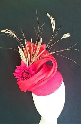 Red Gold Feathers Turban Flower Fascinator Hat Races Melbourne Cup