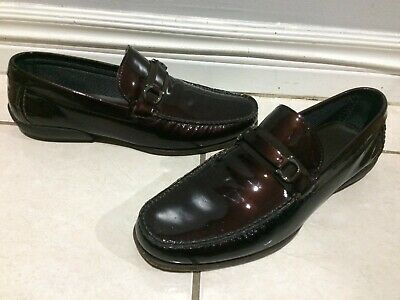 ec9c9069a3fd4 SALVATORE FERRAGAMO Dark Brown Patent Leather Loafer Dress Shoes US 9.5 UK  8.5