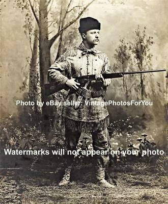 Young President Theodore Teddy Roosevelt Deer Skin Hunting Rifle Photo/Picture