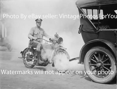 Antique 1923 Prohibition Era Motorcycle/Indian/Harley Police/Cop & Car Photo