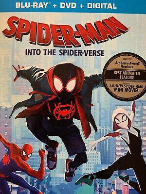 Spider-Man Into The Spider Verse(Blu-Ray+Dvd+Digital) No Slipcover New Free Ship