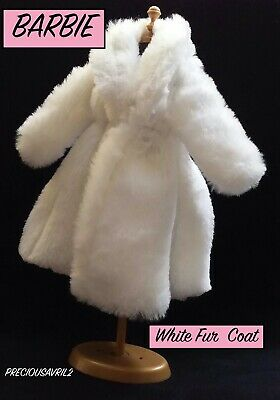 New Barbie Doll Clothes  coat clothing jacket outfit white fur coat winter