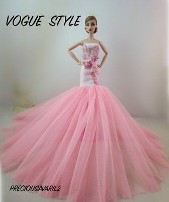 New Barbie doll clothes outfit princess wedding dress pink fishtail gown