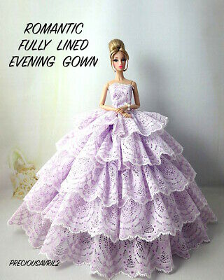 Brand new Barbie doll clothes outfit princess wedding dress pink fishtail gown