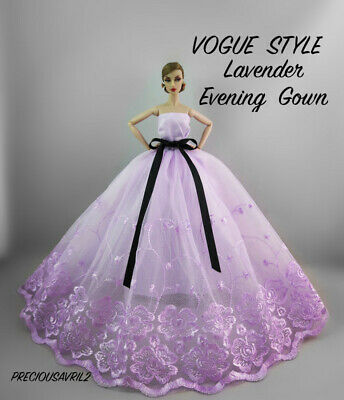 Brand new Barbie doll clothes outfit princess wedding dress Lavender gown