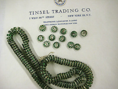 Vintage Antique Green/Silver Glass  Buttons Unused 1 doz  Doll Costume
