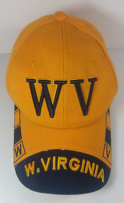 on sale 9dd68 ea9ca West Virginia Mountaineers Cap Hat One Size Adjustable Yellow Blue WVU  Football