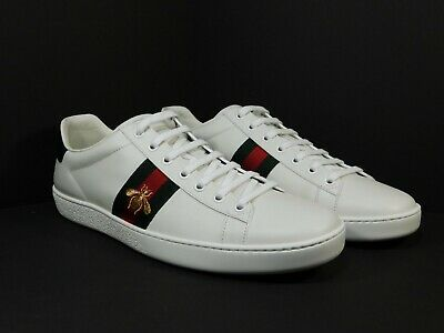 195ddfd35c4 Men s GUCCI New Ace Embroidered Bee White Leather Sneakers Size 42 EU   9 US