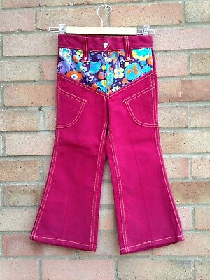 Vintage Retro Authentic 60's/70's Kids Clothes Age 2 Year Red Trousers New