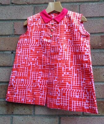 Vintage Retro Authentic 60's/70's Kids Clothes Age 1 Year Dress Red  New