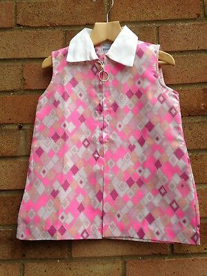 Vintage Retro Authentic 60's/70's Kids Clothes Age 1 Year Dress Pink New