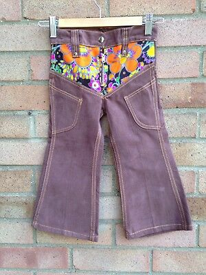 Vintage Retro Authentic 60's/70's Kids Clothes Age 2 Year Brown Trousers New