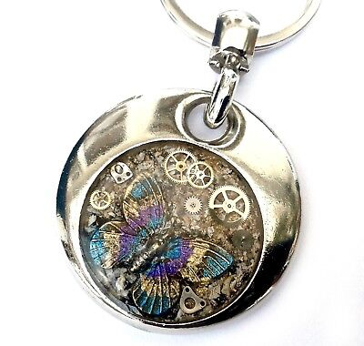Cremation 2 sided butterfly keyring ashes sealed in resin plus photo/message
