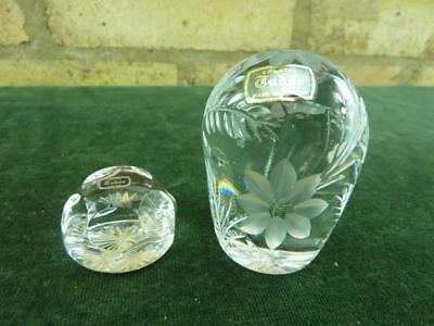 two lovely cut glass Tudor  paperweight two sizes