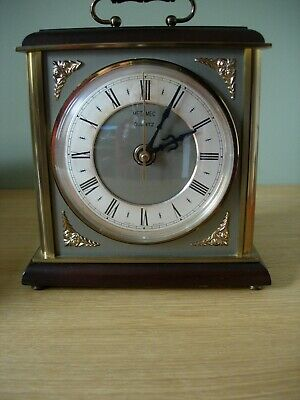Vintage Metamec Quartz Brass, Metal & Wood Large Carriage Clock Made in England