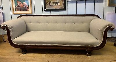 Victorian Scroll Arm Chesterfield Mahogany 3 Seater Sofa New Grey Upholstery