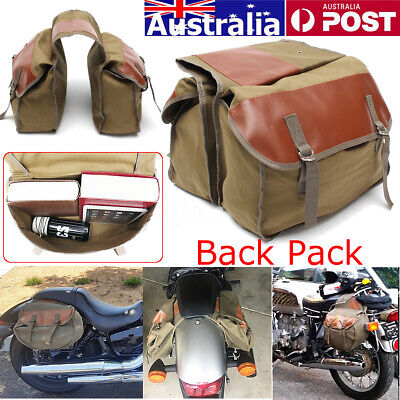 Canvas Motorcycle Saddle Bags Equine Seat Back Pack for Sportster Motor Bike