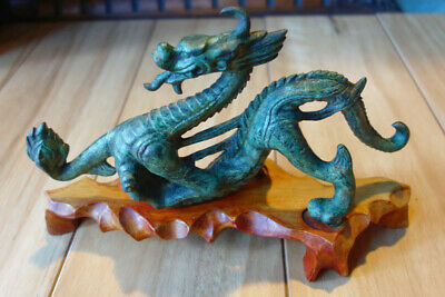 Cast Iron Green Chineses Dragon on Timber stand - Unknown Age