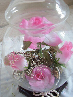 Artificial  Flowers-roses under glass dome- case, Plant Home decoration