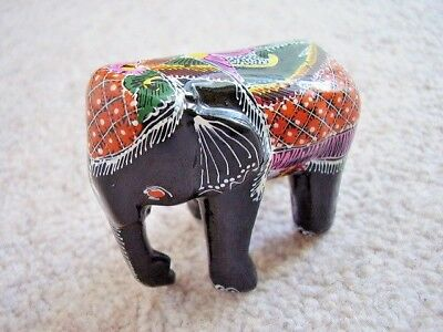 Carved Wooden Lacquer hand painted  elephant figurine-ornament