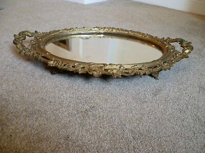 An Antique French Rococo Style Gilded Mirror Tray.  French Gilded Ormolu  Mirror