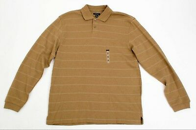 152adafb9 VAN HEUSEN MICROTOUCH Men s Long Sleeve Polo Shirt. Taupe Beige Size ...